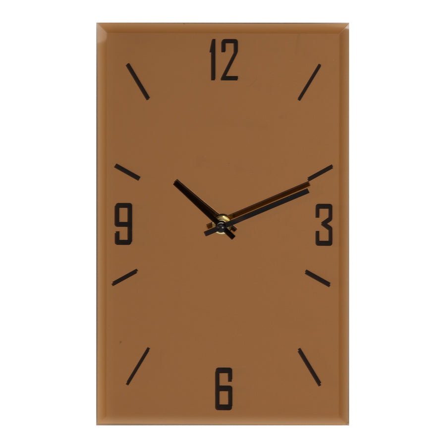 HOMETIME GLASS ROSE GOLD OBLONG WALL CLOCK 30CM - W7533
