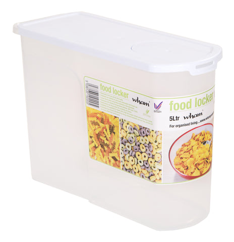 Wham 5L Food Locker Cereal Dispenser Clear/White- 19200