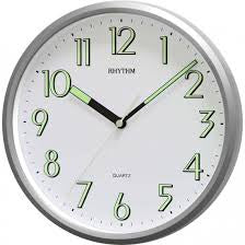 "Hometime Rhythm 10"" Kitchen Wall Clock/SILV/Super Luminous - CMG727NR19"