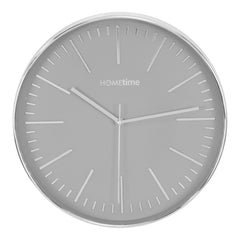 Hometime Silver Plastic Wall Clock & Batons Grey Dial 30.5cm - W7774