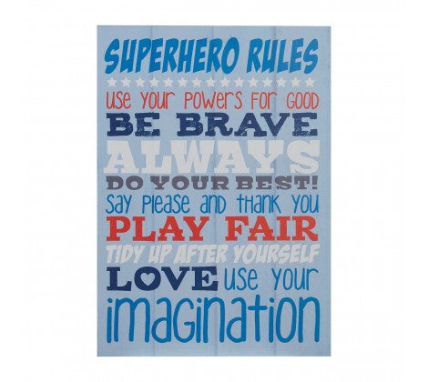 PREMIER KIDS SUPER HERO RULES WALL PLAQUE 20 X 28CM- 2800779