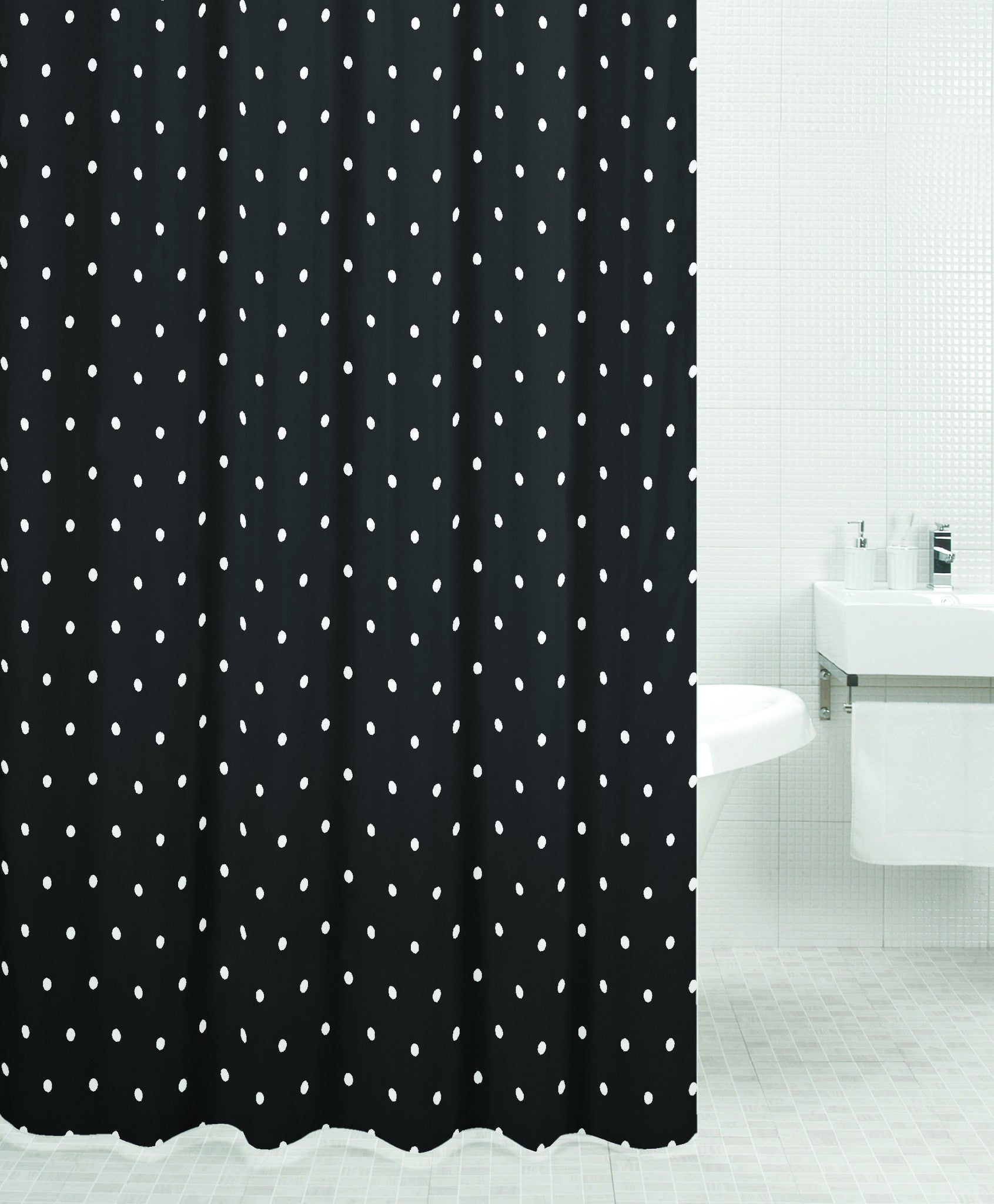 Sabichi Black Spot Polyester Shower Curtain-110398 - Homely Nigeria