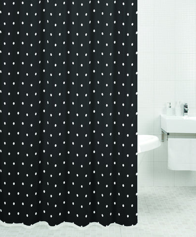 Sabichi Black Spot Polyester Shower Curtain-110398
