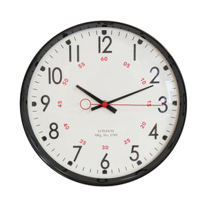 Hometime Metal Case Kitchen Clock Black 30cm - W7952BK