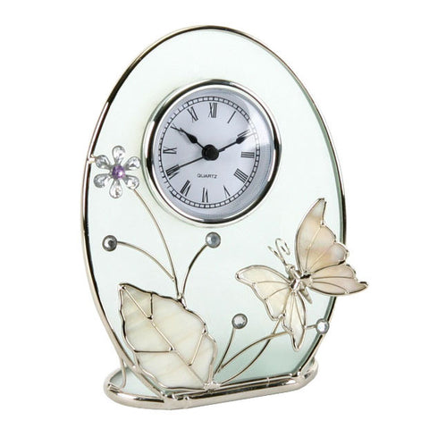 Hometime Chrome wire with Enamel Butterfly design Clock-14088