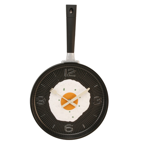 Hometime Frying Pan Wall Clock with Egg-Black-W7478B