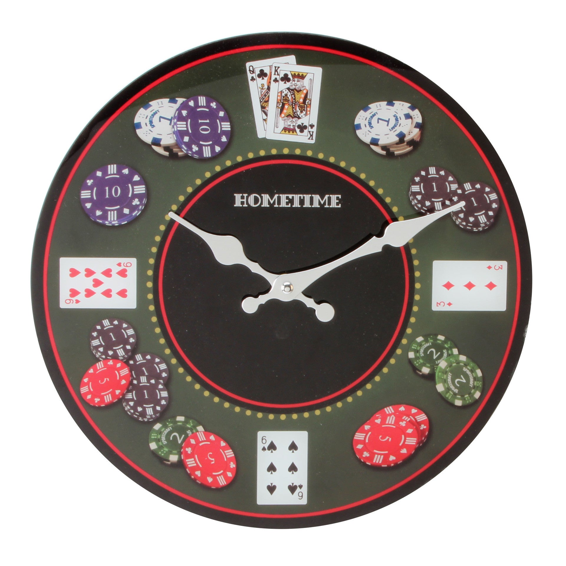Hometime Glass Wall Clock - Poker-W7566 - Homely Nigeria