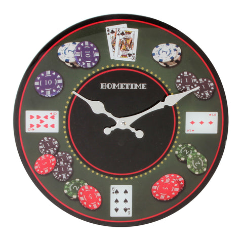 Hometime Glass Wall Clock - Poker-W7566