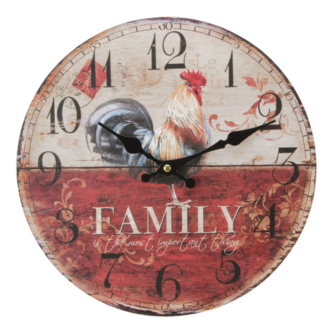 Hometime MDF Round Wall Clock -Family-W9774
