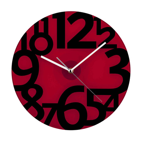 Premier 30.5cm Dia Red Glass Wall Clock- 2200662