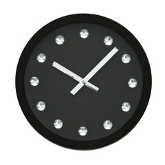PREMIER 31CM DIA JEWELLED DIAMANTE BLACK WALL CLOCK-2200464 - Homely Nigeria