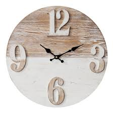 Hometime Round Wood Effect Wall Clock Arabic Dial 40cm -W7480