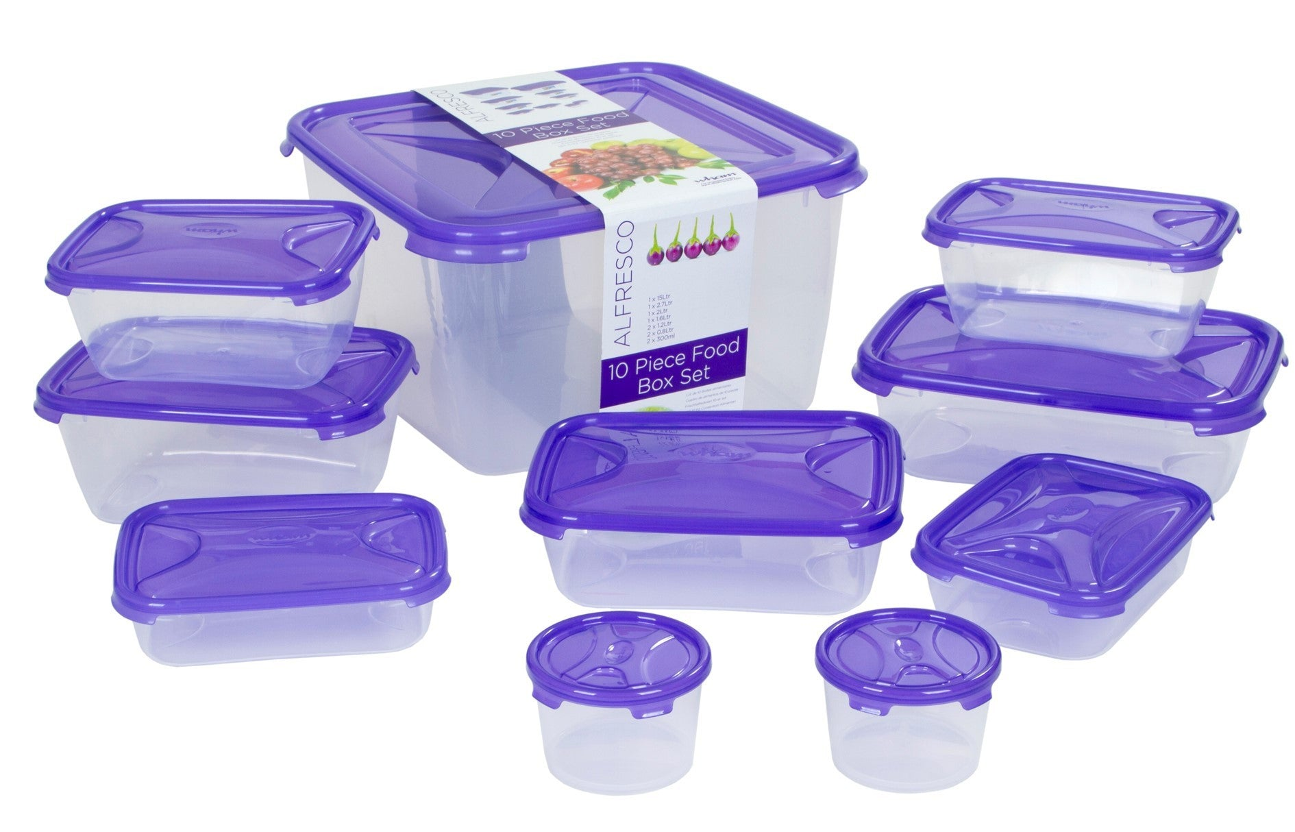 Wham Cuisine 10 Pieces Food Box Set Clear/ Tint Purple- 12212 - Homely Nigeria