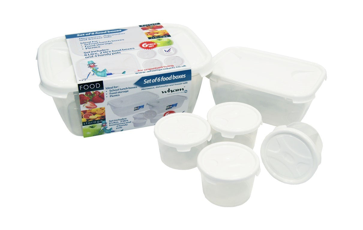 Wham Cuisine 6 Pieces Food Box Set Clear/ Ice White- 12213 - Homely Nigeria