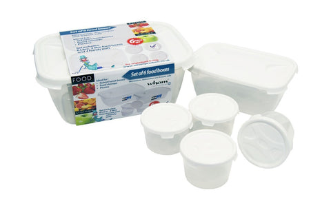 Wham Cuisine 6 Pieces Food Box Set Clear/ Ice White- 12213