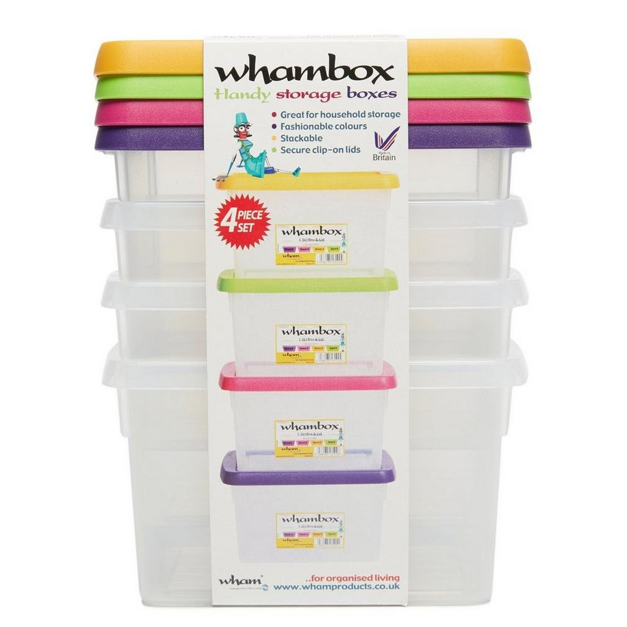 Wham box & lid 1.5L Set of each 4 Clear/assorted - 13104