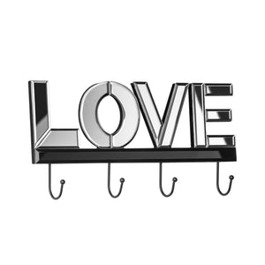 Premier Love Mirrored 4 Hook Wall Hanger-0509805
