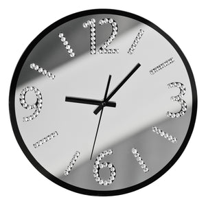 PREMIER 35CM DIA GLASS WALL CLOCK BLACK/MIRROR-2200596