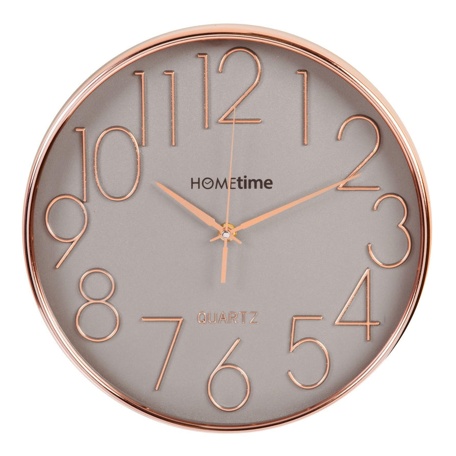Hometime Round Plastic Wall Clock Gold Raised Numbers 30cm - W7362