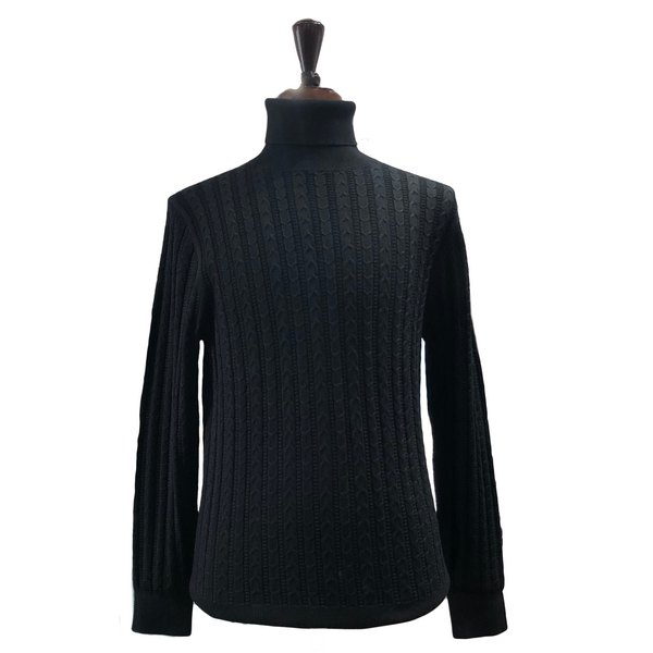 Prestige Cable Turtleneck Black