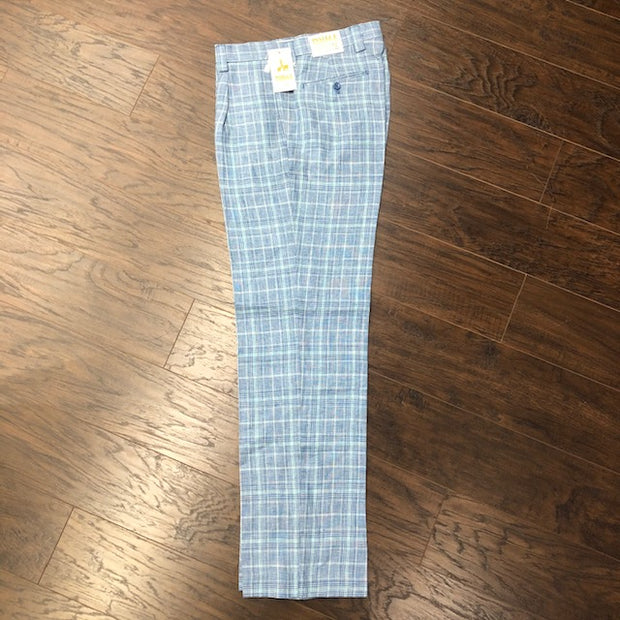 Inserch Linen Pant Blue Plaid