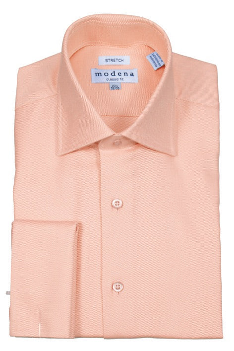 Modena Melon French Cuff Dress Shirt Stripe Twill