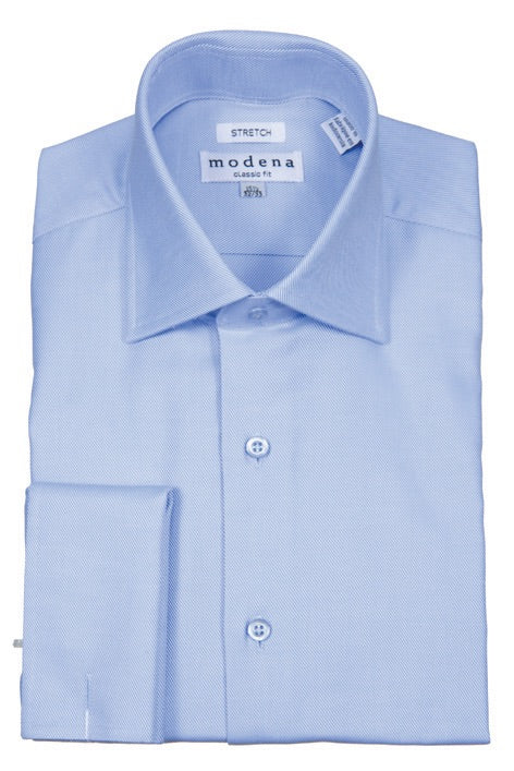 Modena Light Blue French Cuff Dress Shirt Stripe Twill