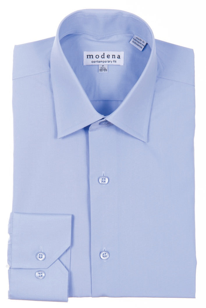 Modena Powder Blue Contemporary Fit Men's Dress Shirt