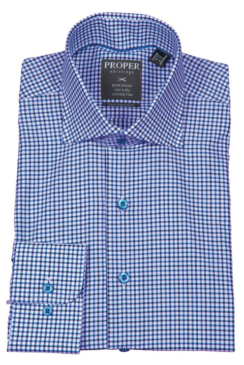 PROPER MENS 100% COTTON BROWN/BLUE CHECK SPREAD COLLAR WRINKLE FREE SLIM FIT DRESS SHIRT