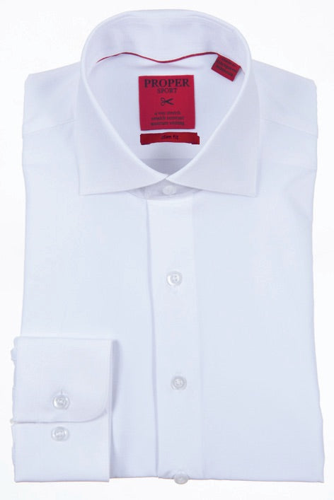 Proper Mens Performance 4-way Stretch Dress Shirt Slim Fit White