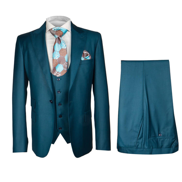 Rossi Man 3pc Suit Teal