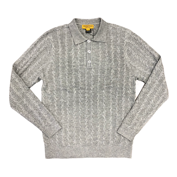 Prestige Polo Sweater (Gray/White)