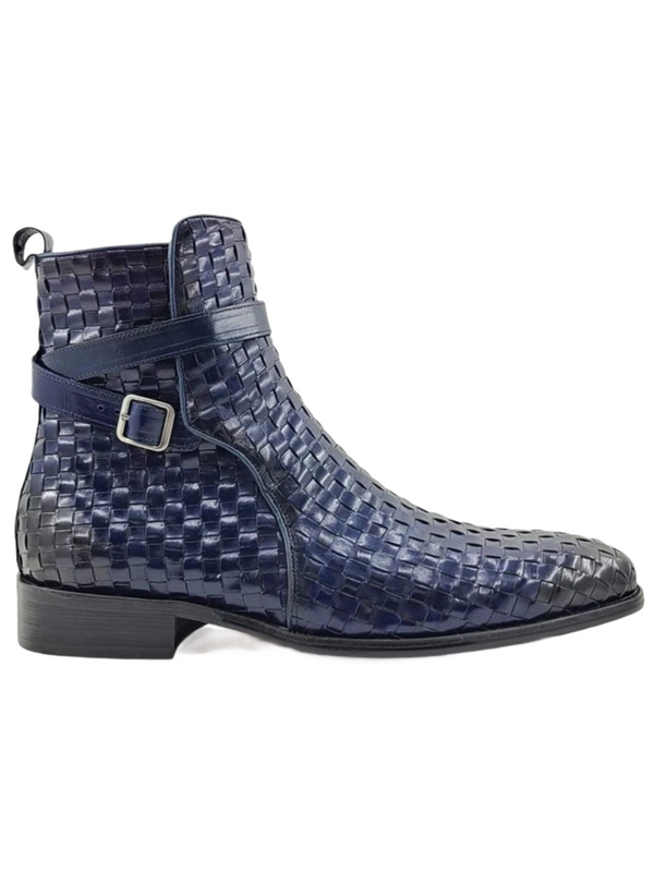 Carrucci Basket Weave Buckle Boot (Navy)