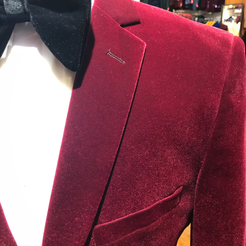NEEDLE STITCH VELVET BLAZER BURGUNDY