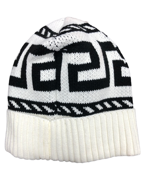 Greek Key Beanie Hat (White/Black)