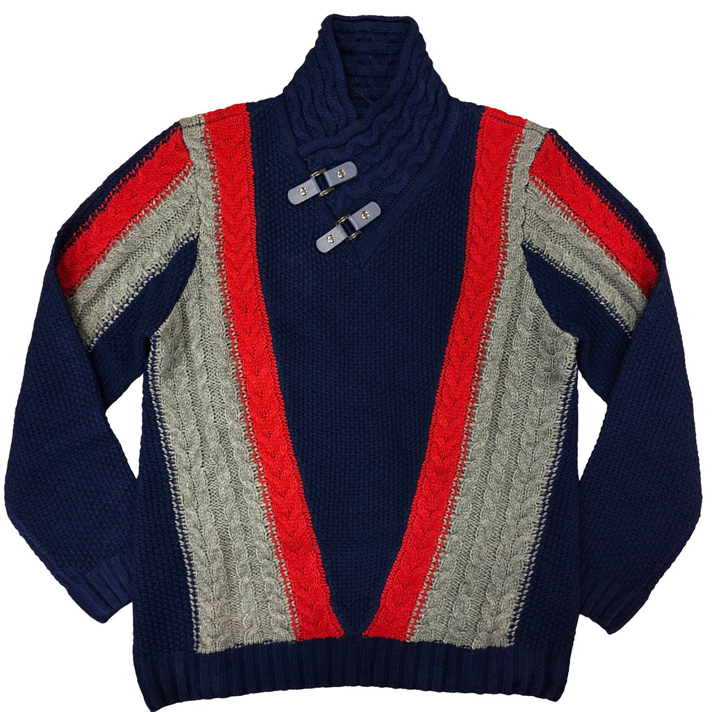 STEVEN LAND HIGH COLLAR SWEATER NAVY/RED/GRAY