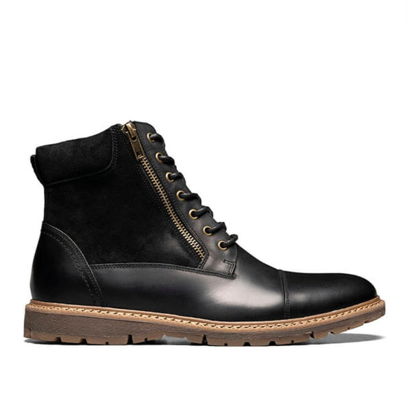 Stacy Adams Cap Toe Lace Up Zip Boot (Black)
