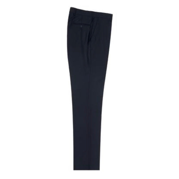 Tiglio Wool Dress Pant Navy Flat Front