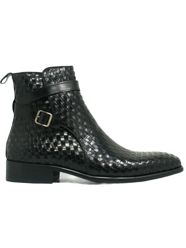 Carrucci Basket Weave Buckle Boot (Black)