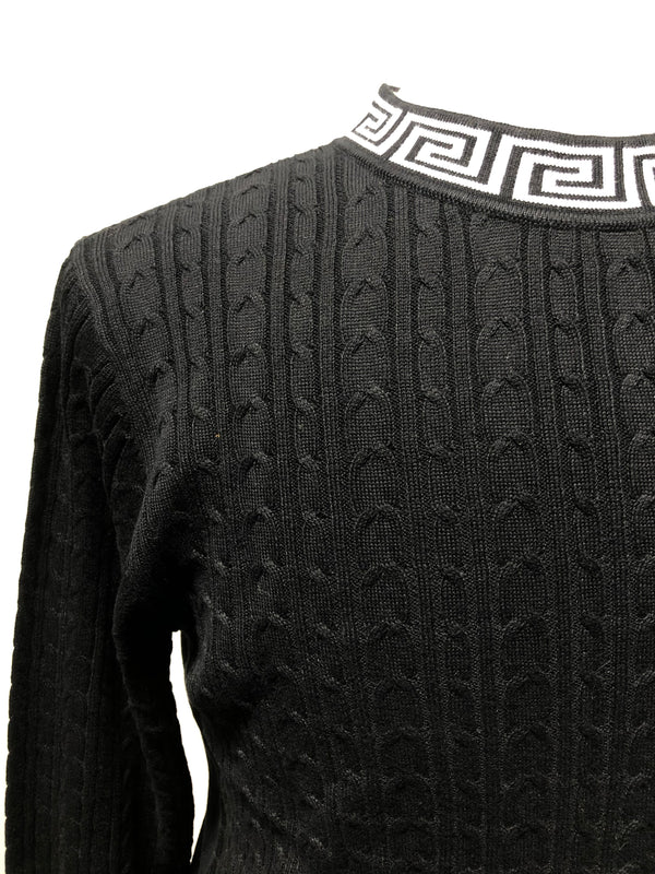 Prestige Greek Key Crew Neck (Black/White)