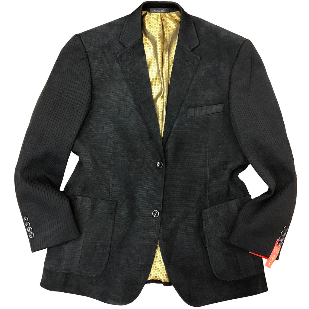 INSERCH KNIT SLEEVE BLAZER-BLACK