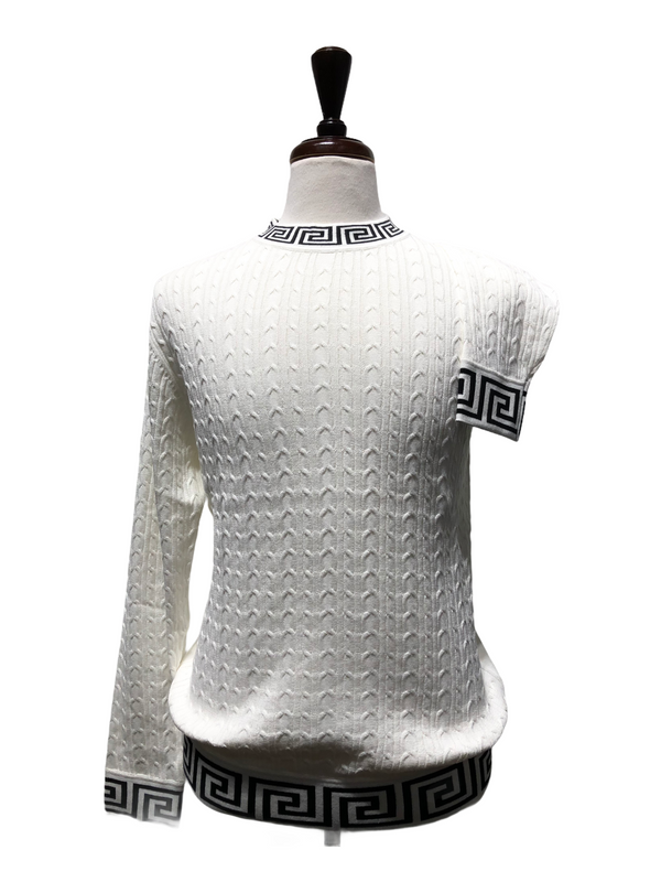 Prestige Greek Key Crew Neck (White/Black)