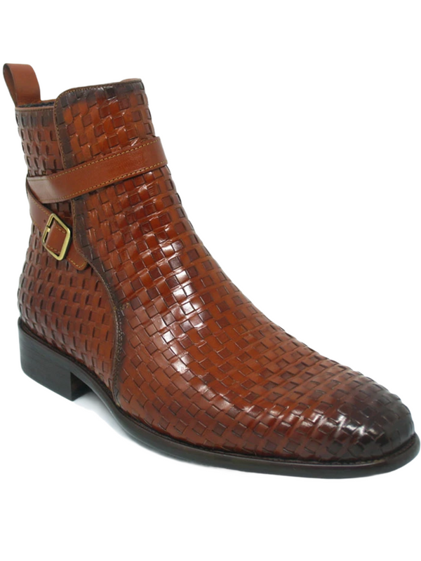 Carrucci Basket Weave Buckle Boot (Cognac)