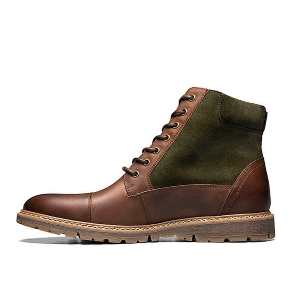 Stacy Adams Cap Toe Lace Up Zip Boot (Brown/Green)