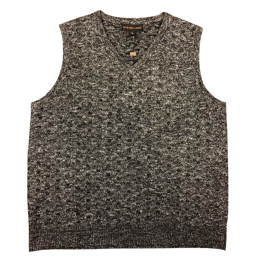 STEVEN LAND SWEATER VEST BLACK/GREY