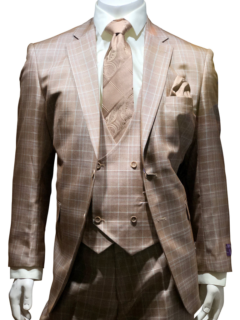 Vini U-Shape Vested Suit Beige
