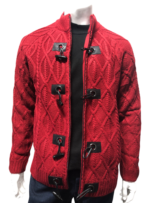 Prestige Toggle Cardigan (Red/Black)
