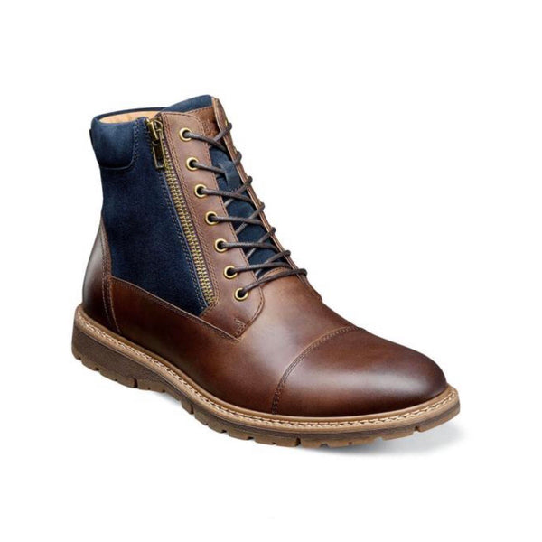 Stacy Adams Cap Toe Lace Up Zip Boot (Brown/Blue)