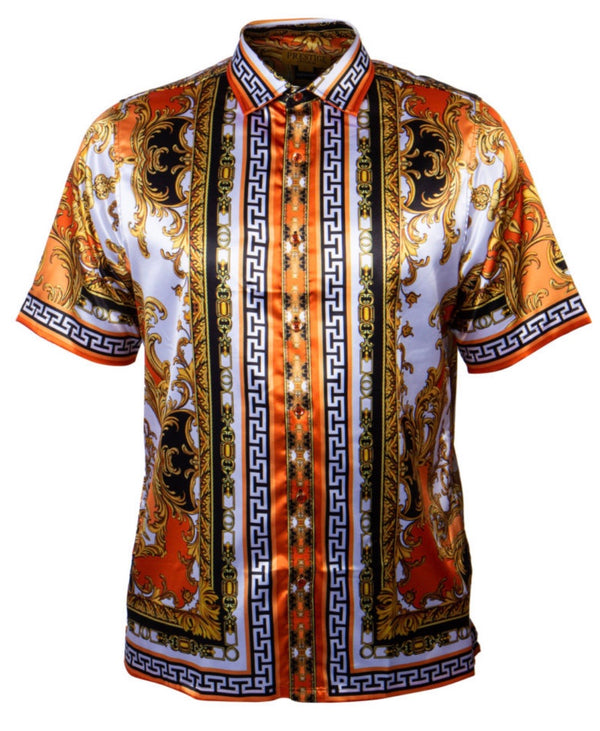 Prestige Printed Luxury Shirt Orange101