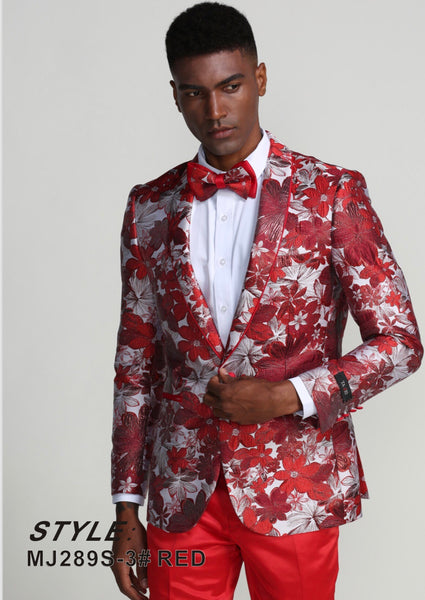 Tazzio Slim Fit Blazer' Red/White/Silver